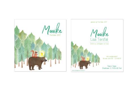 geboortekaartje met beer illustratie