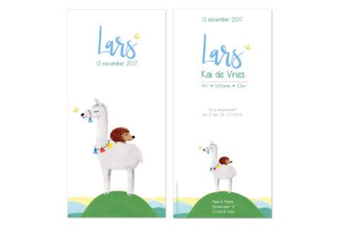 geboortekaartje met egel en lama illustratie