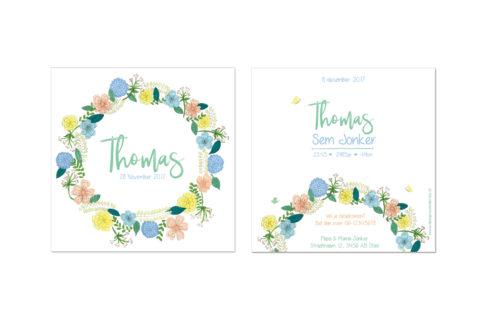 geboortekaartje met bloemen illustratie