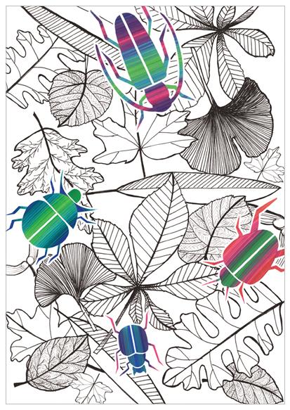 kaart met bladeren en kevers illustratie