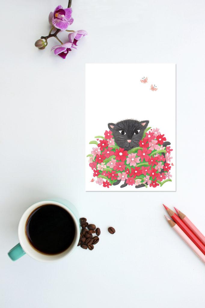 kaart kat in bloemen design wonderlab