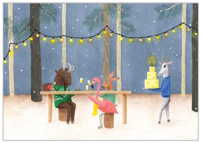 dieren kerstkaart etentje in het bos