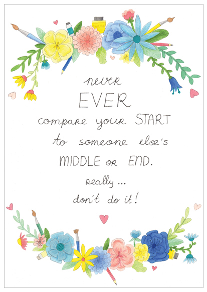 never compare yourself quote illustratie design wonderlab