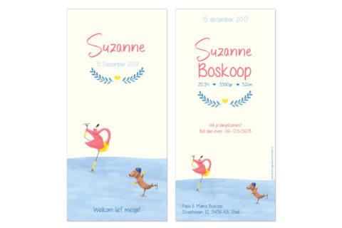 geboortekaartje met flamingo