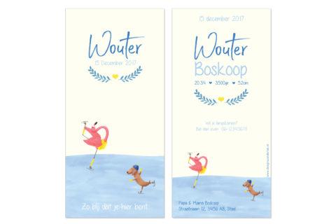 winters geboortekaartje met flamingo en teckel op de schaats