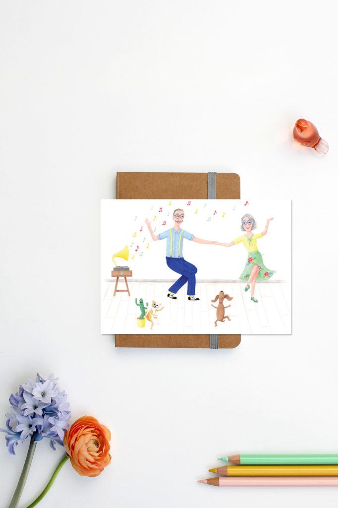 dansen kaart illustratie