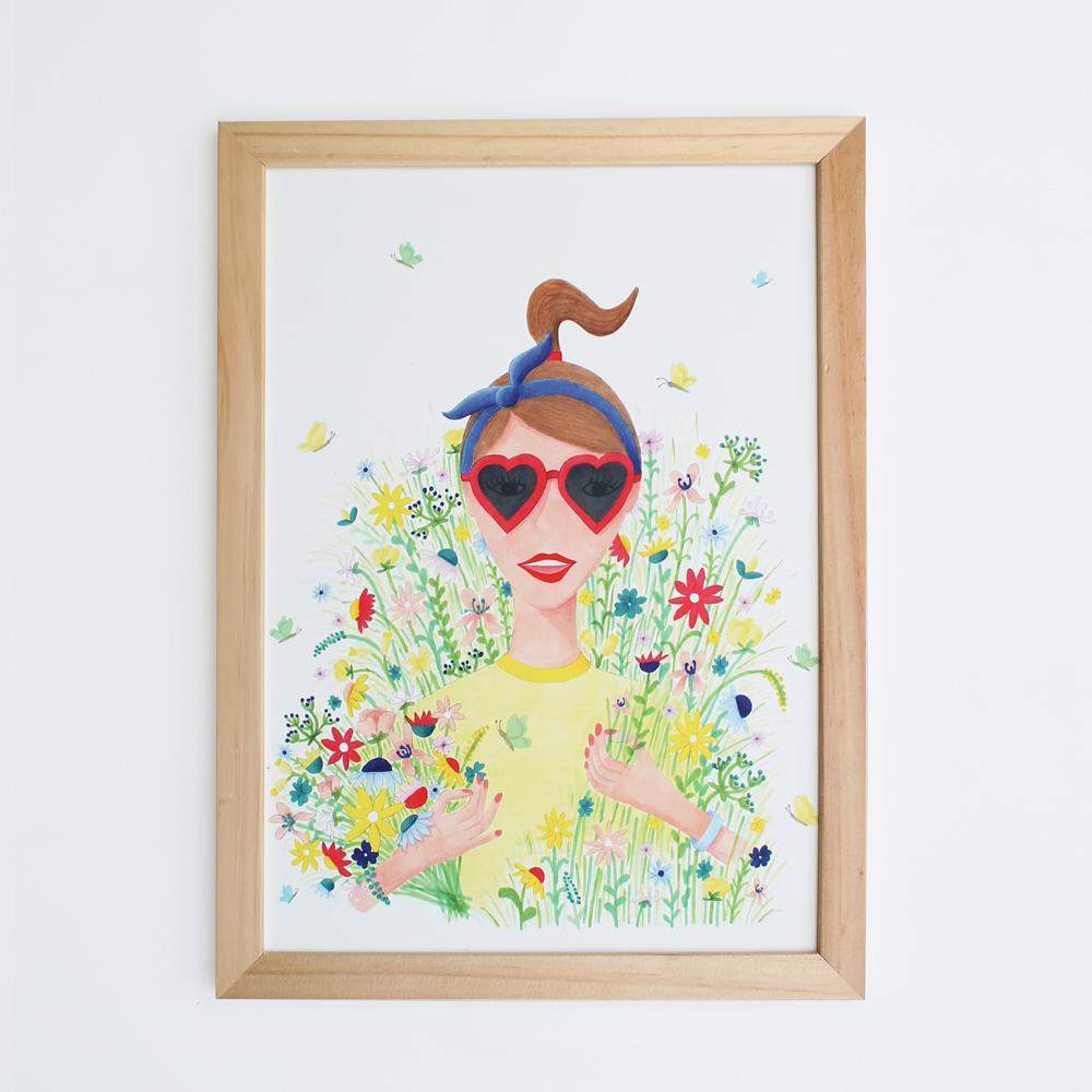 bloemenmeisje poster A4