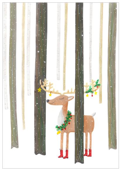 kerstkaart met rendier illustratie