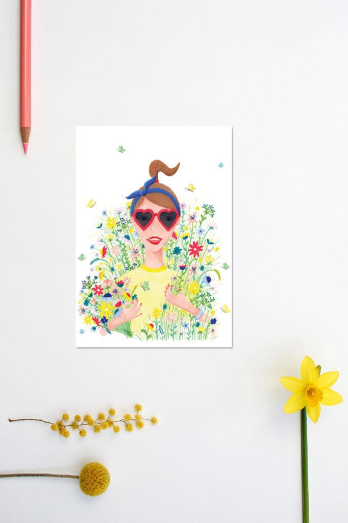 bloemenmeisje kaart illustratie