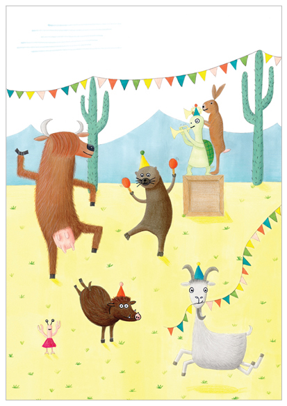 vrolijke poster feestje illustratie design wonderlab