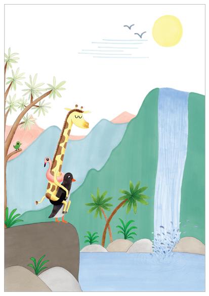 poster met giraffe en pinguin