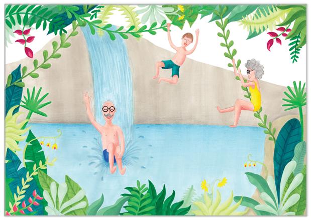 opa en oma kaart zwemmen