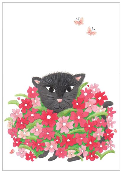 kaart met kat in bloemen