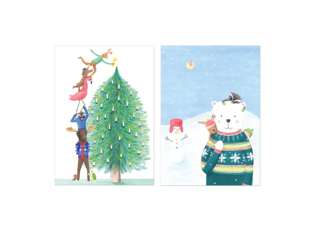 kerstkaarten met illustratie