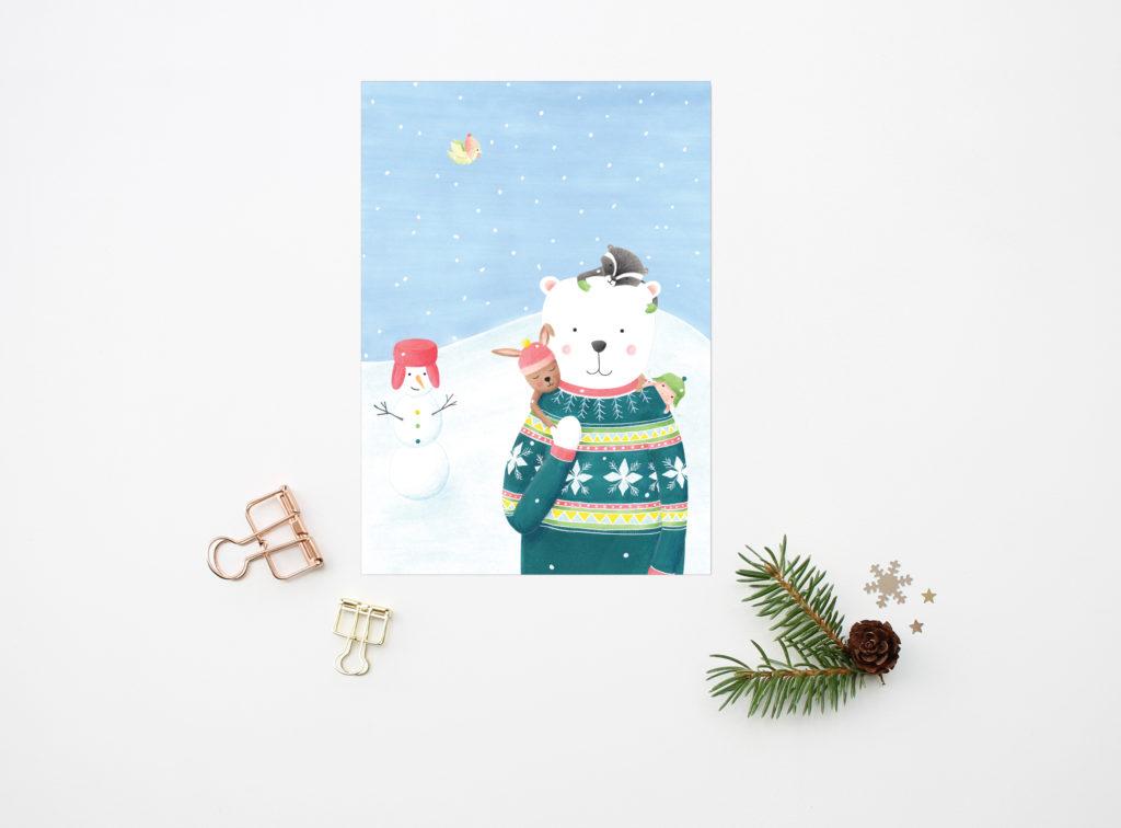 kerstkaart met beer en sneeuwpop