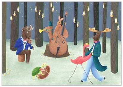 kerstkaart feest in het bos dieren illustratie