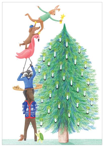 kerstkaart kerstboom versieren
