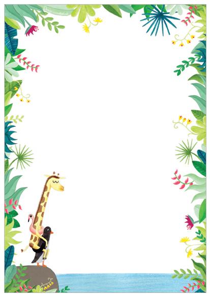 vrolijk notitieblok giraffe en pinguin