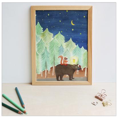 poster met beer en eekhoorn design wonderlab