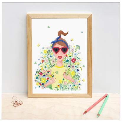 poster bloemenmeisje design wonderlab