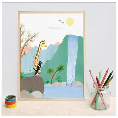 poster met giraffe en pinguin illustratie