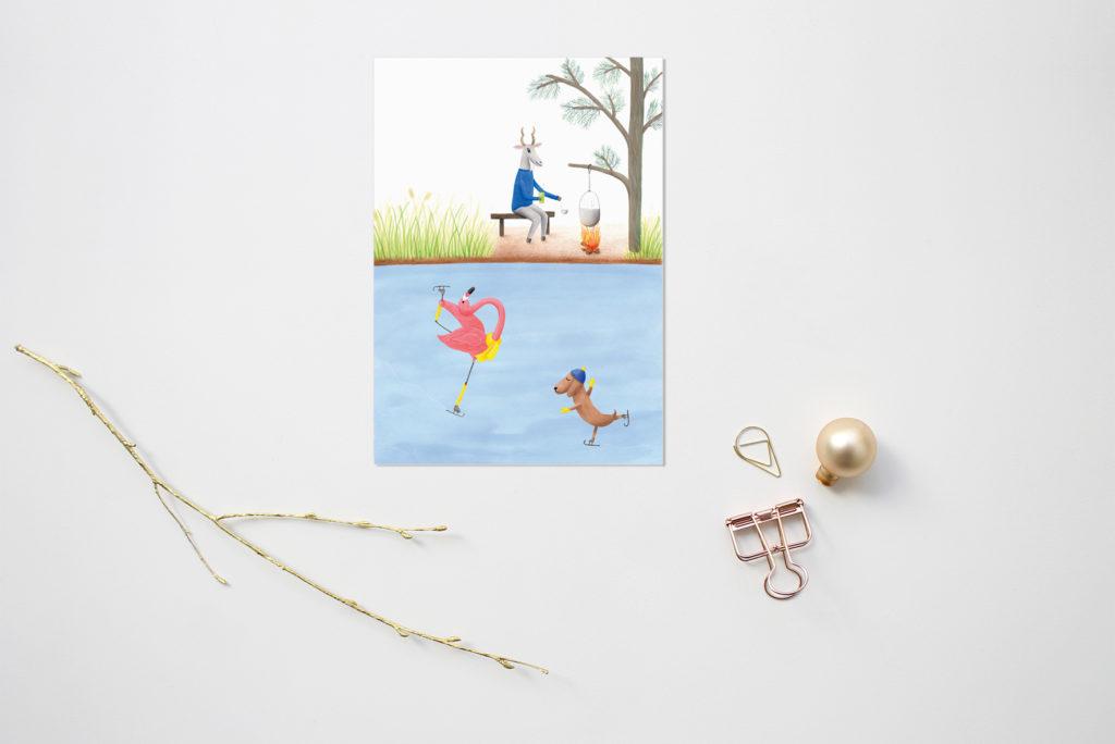 kerstkaart schaatsen flamingo en teckel