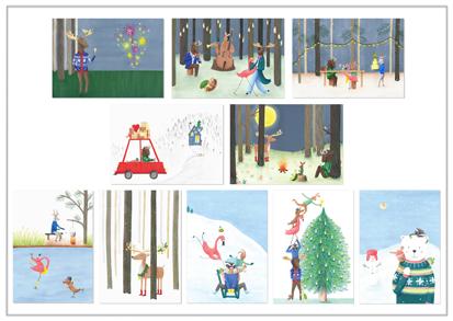 set van 10 kerstkaarten