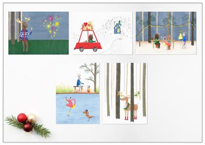 set van 5 kerstkaarten met illustratie