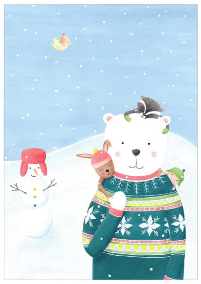 kerstkaart beer en sneeuwpop