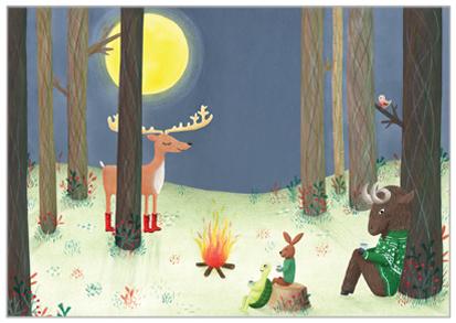 kerstkaart met dieren bij kampvuur illustratie