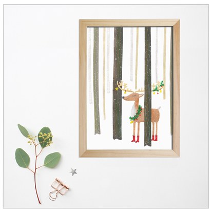 poster rendier kerst illustratie design wonderlab