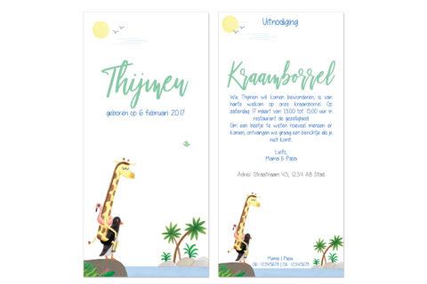 kraamborrel uitnodiging met illustratie giraffe