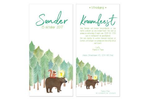 kraamfeest uitnodiging met illustratie beer