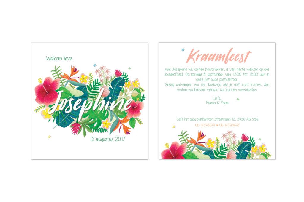 kraamfeest uitnodiging met bloemen illustratie