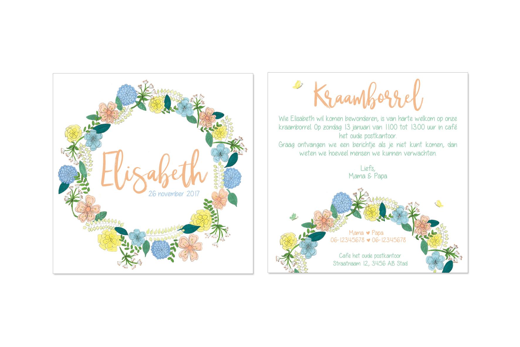 kraamfeest uitnodiging met bloemenkrans illustratie
