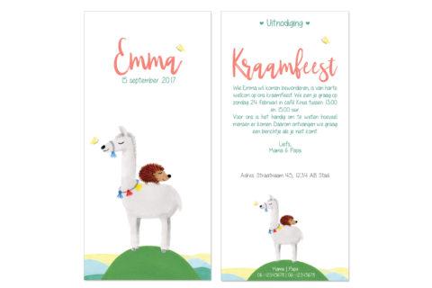 kraamfeest uitnodiging met illustratie lama