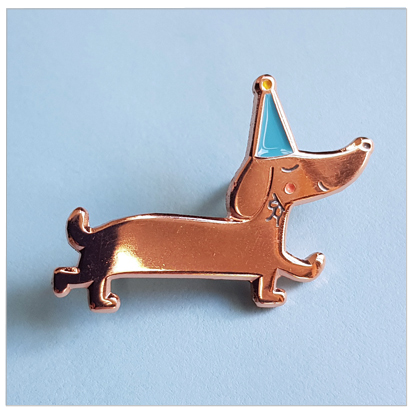 dachshund enamel pin copper design wonderlab